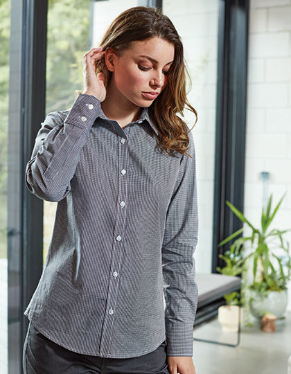 Ladies` Microcheck (Gingham) Long Sleeve Cotton Shirt